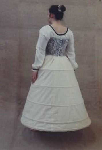 replica 16th century body, chemise and hoop underskirt