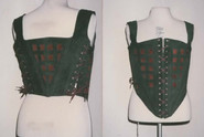 Leather replica 16th century corset with cut work