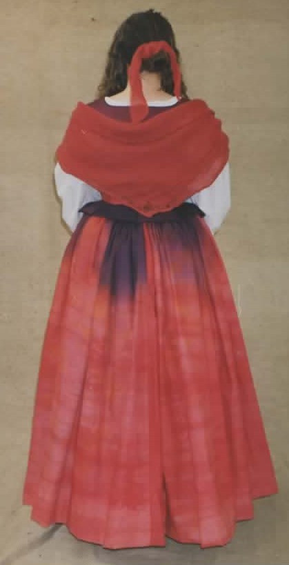 replica 17th century peasant body, chemise, cartridge pleat skirt, shawl hand died