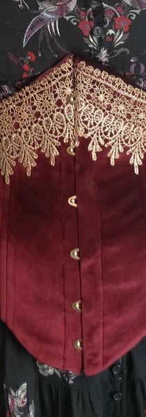Underbust, embelished velveteen corset