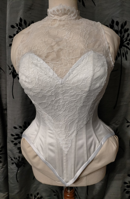 Coutil with Chantilly lace bridal corset