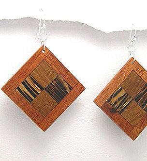 EA71 Unique Exotic Wood Dangle Earrings