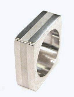 SSR1864 High Polish Square Stainless Steel Ring White Stripe