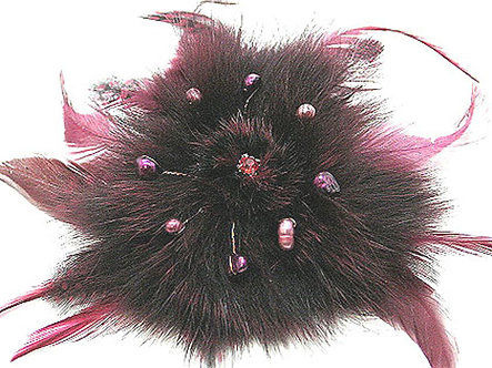 BP05 Pearls Crystal Burgundy Fur Feather Brooch