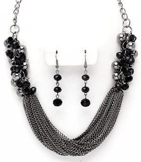 NP1027 Antique Silver Cluster Pearls Black Beads Multi Chains Necklace Set