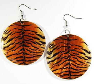 EA144 Animal Print Dangle Shell Earrings