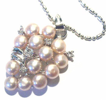 NP88 Genuine Pearl Cluster Crystal 14K White Gold Plated Pendant