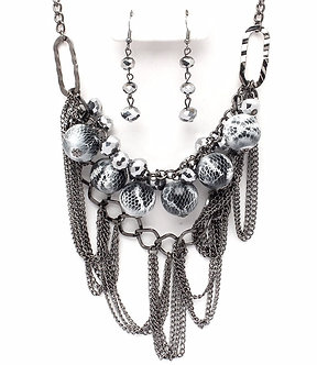 NP1021 Antique Silver Animal Print Ball Beads Chains Necklace Earrings