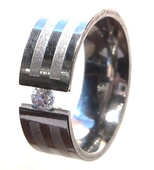 SSR27 - 8mm Floating CZ Stainless Steel Ring
