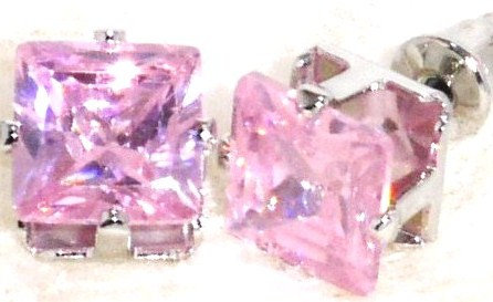 EA203 PINK Faceted Square CZ Stud Post Earrings