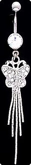 BJ10 ClearCrystal BUTTERFLY Dangle Belly Ring