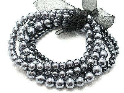 BR21 Multi Strands Silver Glass Pearls Ribbon Stretch Bracelet