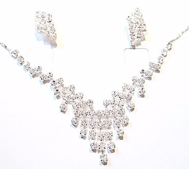 NP01 Crystal Paved Necklace Earrings Set