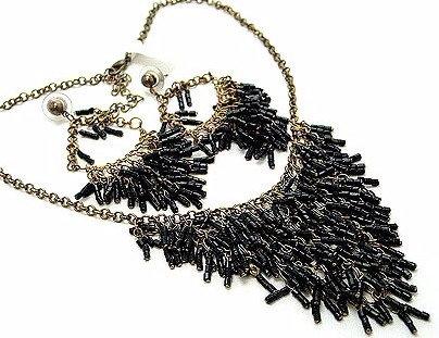 NP90 Black Tubular Beads Cascade Drop Necklace Earrings set