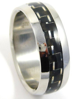 SSR07 - 8mm Black Carbon Fiber Stainless Steel Ring