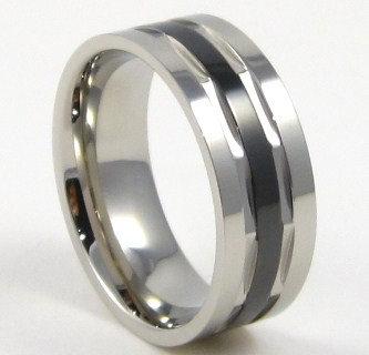 SSR4308 High Polish Black Stripe Stainless Steel Ring