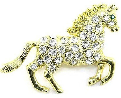 BP76 Large Crystal Paved Gold Horse Brooch