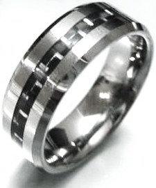 TU3109 Black Carbon Fiber Tungsten Carbide Ring