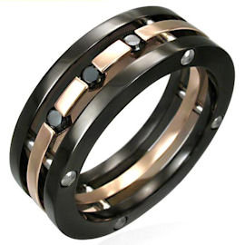 SSR1944 Black CZ Copper Stainless Steel Ring