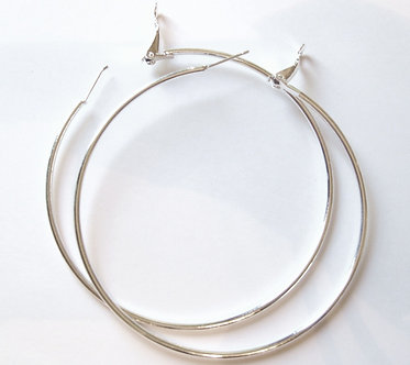 EA86 Large Silver Hoop Earrings 2.75 inch