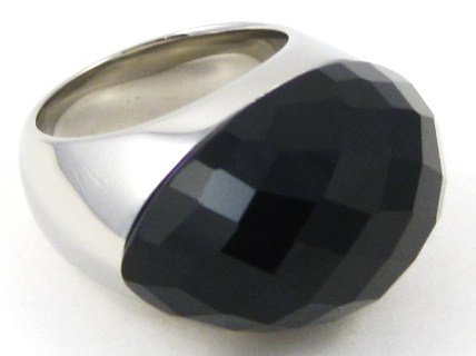 SSR1901 Faceted Black Onyx Stainless Steel Chunky Ring