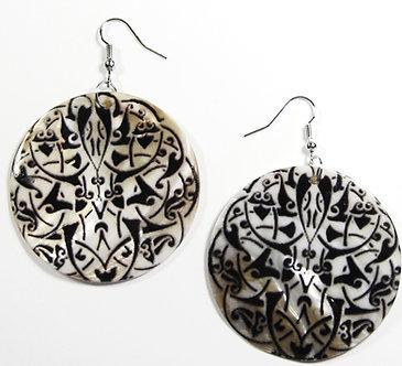 EA128 Unique Art Deco Pattern Shell Dangle Earrings