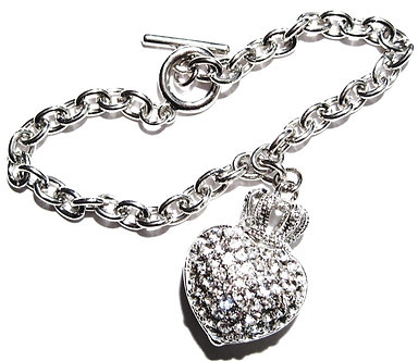 BR11 Crystal Pave Heart Crown Celebrity Style Bracelet