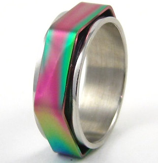 SSR35 Multi Color Hexagonal Spinning Stainless Steel Ring