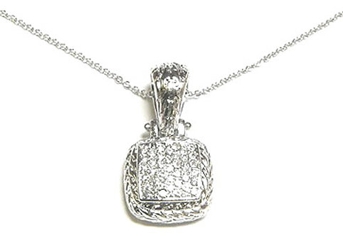 NP34 White Gold Twisted Rope Square Crystal Pendant