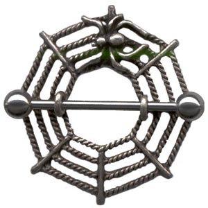 BJ58 - Pair of Stainless Steel Spider Web Nipple Rings Shields
