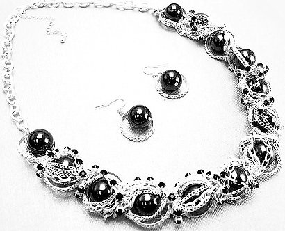 NP935 Chunky Silver Chains Black CZ Metal Balls Chunky Statement Necklace Set