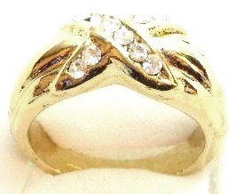 GR01 Sparkling Clear CZ High Polish 18K Gold Ring