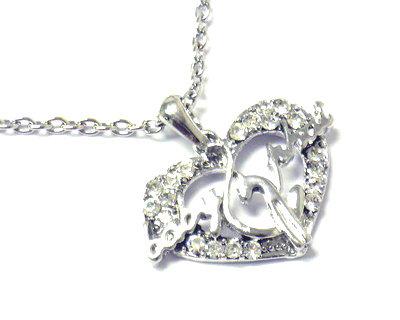 NP107 Trendy Babyphat Crystal Pave Heart Rhodium Finish  Pendant