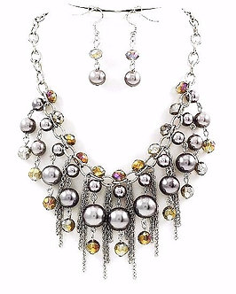 NP1118 Multichains Gunmetal Balls Beads Rhodium Chunky Necklace Set