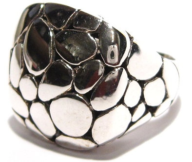 WR103 Sterling Silver Celebrity Style Cobble Texture Chunky Ring