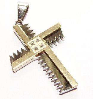 SSP4308 CZ Gold / Silver Jagged Edge Cross Pendant w SS Chain
