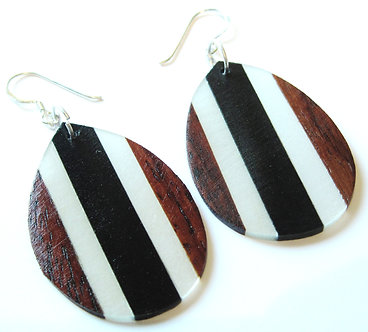 EA75 Unique Exotic Wood Resin Dangle Earrings