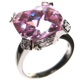 WR115 Sparkling Pink CZ Sterling Silver Rhodium Ring