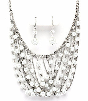 NP1038 Multi Strand White Glass Pearls Chains Chunky Statement Necklace Set