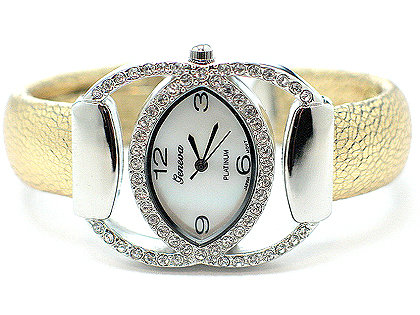 WW136 Celebrity Style Crystal Gold Cuff Fashion Watch