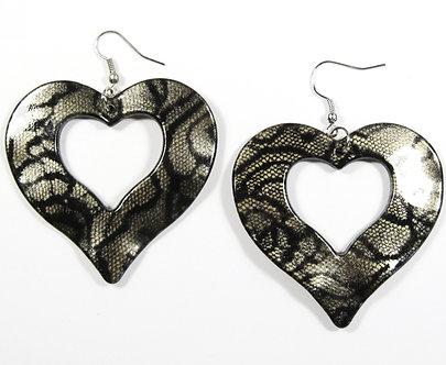 EA137 Silver 2.25 inch Wavy Heart Shape Dangle Earrings