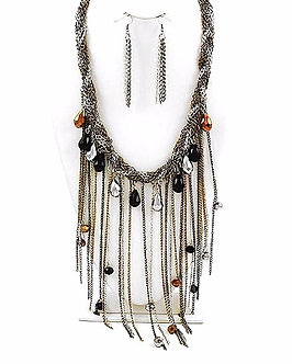 NP1105 Glass Beads Braided Multichains Chunky Necklace Set