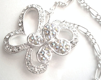 NP19 AB/Clear Crystal Butterfly Figaro Chain Pendant