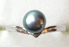 PR10 - 14K White Gold Plated Black Pearl Ring