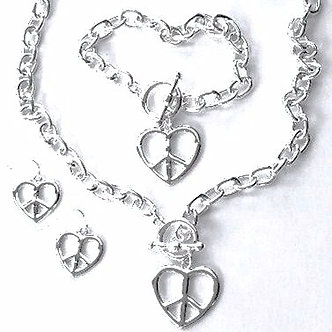 NP142 Silver Peace Sign Heart Toggle Necklace, Bracelet Earrings Set