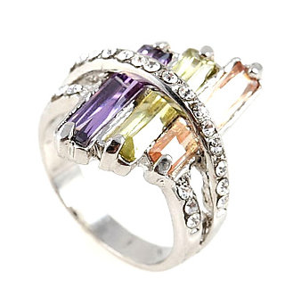 WR123 Colorful CZ Baguette Rhodium Sterling Silver Ring