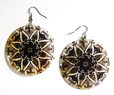 EA130 Unique Art Deco Pattern Shell Dangle Earrings