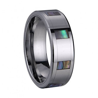 TU6003 Stunning Unisex Abalone Shell Inlay Tungsten Carbide Ring