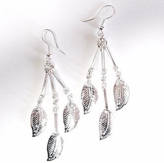 EA162 Dangle Leaf Clear CZ Earrings