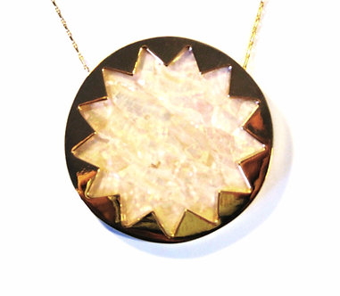 NP2010 Gold Pearlescent Abalone Shell Sunburst Statement Pendant